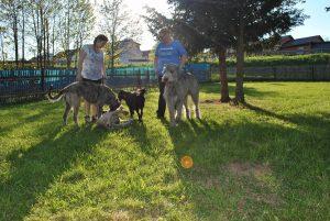 Sonja mit Tochter und Hunden